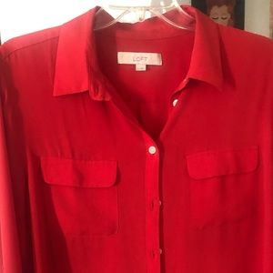 Red chiffon button up blouse